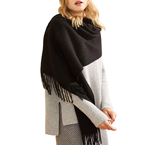 Fashion Luxurious Cashmere Stole Scarf,Long Soft Shawls Wrap for Women and Men (Black)