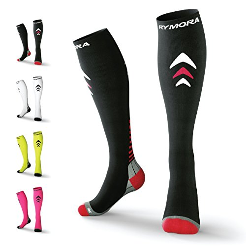 Compression Socks (Cushioned, Graduated Compression, Unisex for Men and Women, Seamless Toe Seams) (One Pair) (Black) (US Men: 4-7.5 / US Women: - Triathlon Equipment Uk
