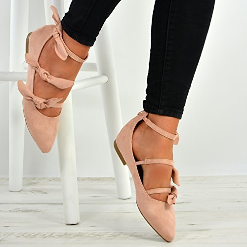 Cucu Fashion New Womens Ladies Pointed Toe Bow Ballerina Back Zip Flats Shoes Size UK 3-8 Pink vCjczckd