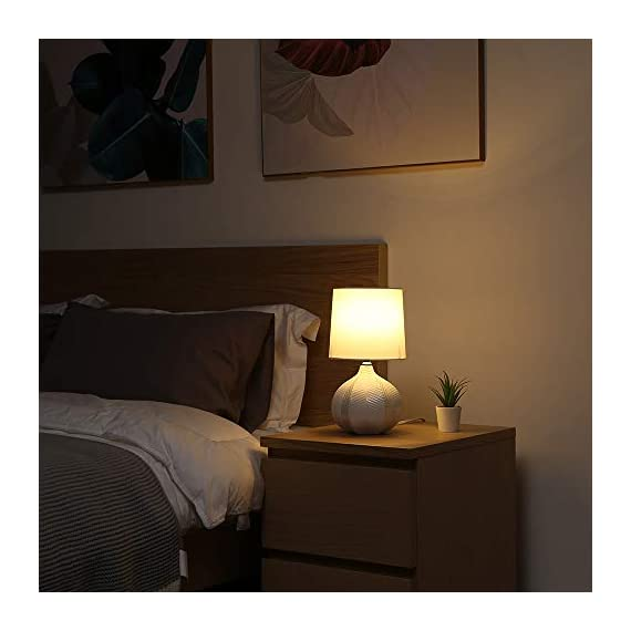 "SOTTAE Modern Style Small Ceramic Milk Color Unique Desgin Bedside Table Lamp, Cute Desk Lamp with White Fabric Shade for Livingroom Bedroom - Small cute size: Diameter: 7.09"", Height:13.2"", Attention: please clearly the size when you look through our product. Input: AC 110V - 120V. Lamp Can be used with LED, CFL, Incandescent Medium base bulbs(Bulbs are not included). Elegant design: Modern style, simple and chic ceramic lamp body with white fabric lampshade. - lamps, bedroom-decor, bedroom - 41z7beIczDL. SS570  -"