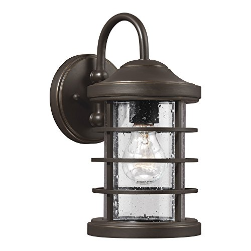 Sea Gull Lighting 8524401-71 Sauganash One-Light Outdoor Wall with Clear Seeded Glass Diffuser, Antique Bronze Finish (Glass Seeded Antique)