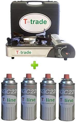ALTIGASI Hornillo de mesa bistró doble conexión (cartuchos de gas o bombona) Potencia 2200 W + 4 cartuchos incluidos
