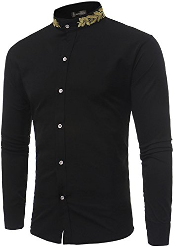 Sportides Men's Casual Long Sleeve Slim Fit Embroidery Stand Collar Dress Shirt Tops JZA124 Black L