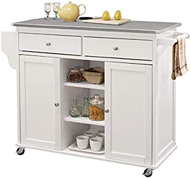 Amazon Com Bowery Hill Stainless Steel Top Mobile Kitchen Island In White Kitchen Islands Carts