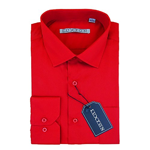 Luxton Cotton Poly Shirt Collection Regular Fit (Red 626,Large/Neck:16-16 1/2, Sleeve:32/33)