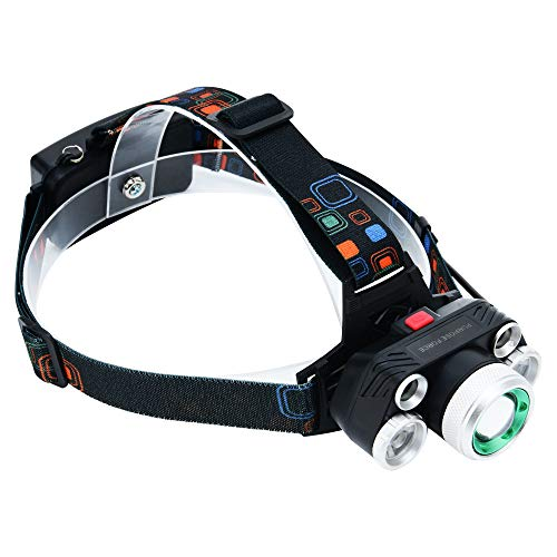 LED Headlamp By Purpose Force: Rechargeable Headlight Assembly With Zoomable Light & 4 Brightness Modes - Adjustable Head Lamp Flashlight For Cycling, Running, Hiking, Fishing - 3 Chargers Included