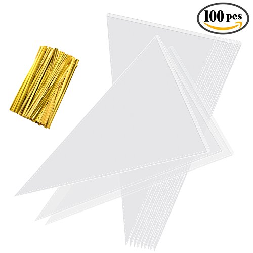 Wedding Favor Cones (Whaline 100 Pieces Clear Cone Bags Transparent Sweet Treat Cello Bags with 100 Gold Twist Ties for Holiday Wedding and Party, 11.8 by 6.3 Inch)