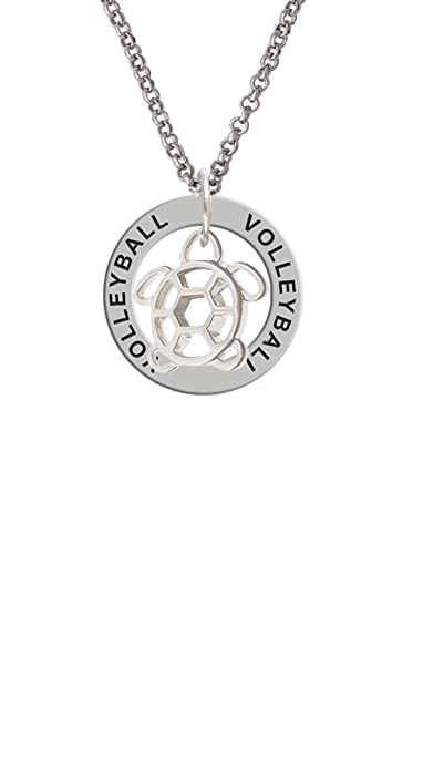 743b6403d73e2 Amazon.com: Cutout Sea Turtle - Volleyball Affirmation Ring Necklace ...