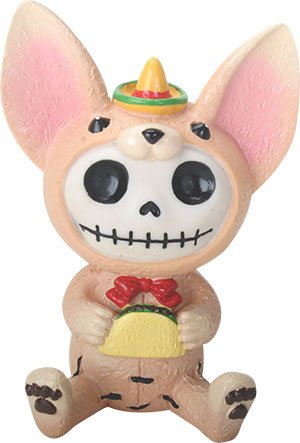 Ebros Gift Furrybones Taco Figurine Hooded Skeleton Monster with Sombrero Eating Taco Collectible Sculpture Decorative (Skeleton Chihuahua)