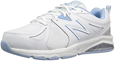 New Balance Women's 857 Cross Training Shoes, White/Blue, 8 US (Wide)