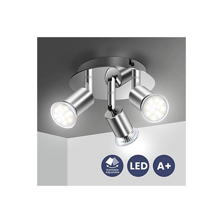 Ceiling Light Fitting, Elfeland 3 Way Pendant Light Ceiling Spotlight Rotatable Swiveling Lamp 3X GU10 Light Bases Angle…