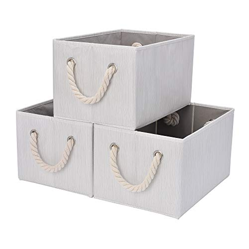 StorageWorks Storage Bins with Cotton Rope Handles, Storage Basket for Shelves, Mixing of Beige, White & Ivory, 3-Pack, Large