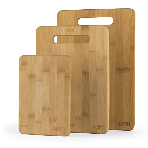 Commercial Chef Cutting Boards Premium Chopping Board, 3 Piece Set, Bamboo