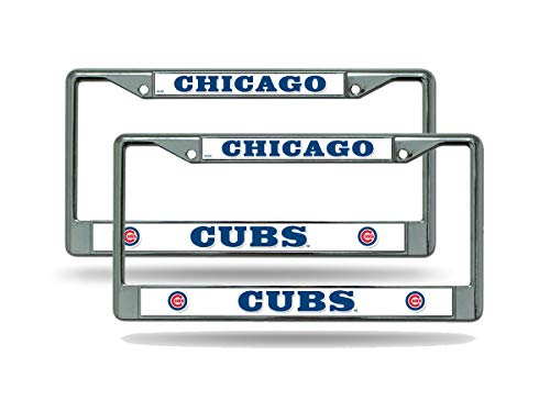 Rico Chicago Cubs MLB (Set of 2) Chrome Metal License Plate Frames