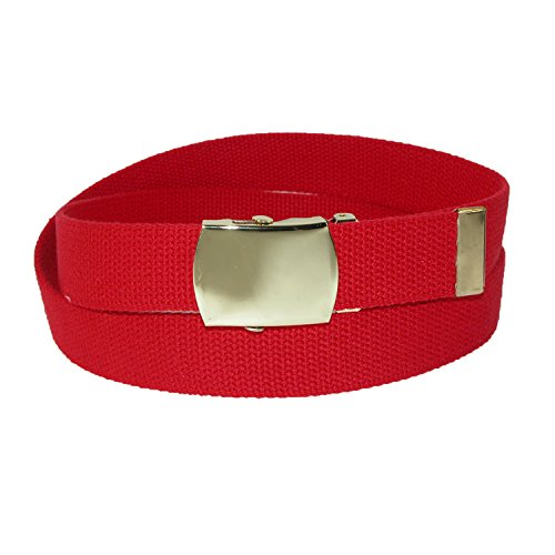 CTM Big & Tall Cotton Adjustable Belt with Brass Buckle, Red (Big Brass Buckle)