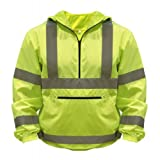 Utility Pro UHV658 Nylon High-Vis Packable Pullover with Hood with Dupont Teflon fabric protector,  Lime,  2X-Large