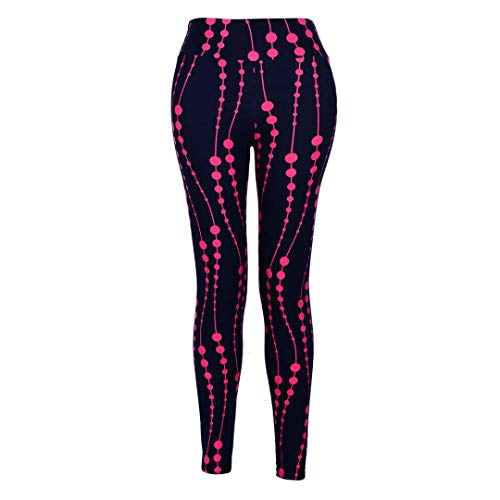 JOFOW Women's Leggings,Dots Points Solid Fitness Skinny Elastic Stretch Workout Gym Sport Jogger Pants for Women (M,Hot Pink)