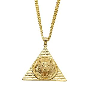 HongBoom Hip Hop Cuban Link Chain 14K Gold Plated CZ Fully Iced-Out Pyramid Lion Stainless Steel Necklace (Gold)