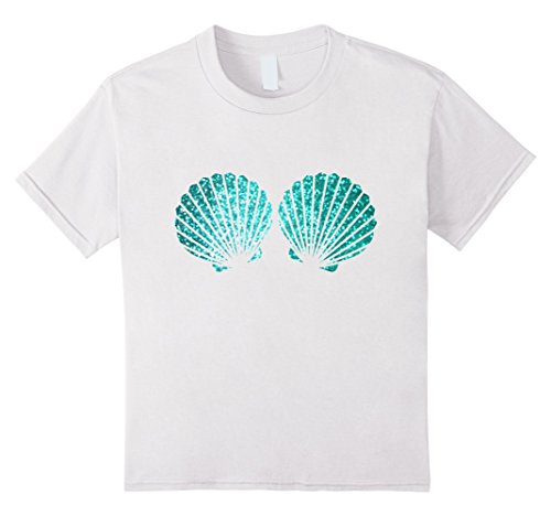 Funny Beach Party Costume Ideas (Kids Beautiful Turquoise Shells Mermaid Bra Party t Shirt 10 White)