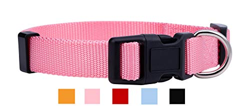 Collars Dog Colors Solid Collar - Native Pup Nylon Dog Collar Classic Solid Colors (Large, Pink)