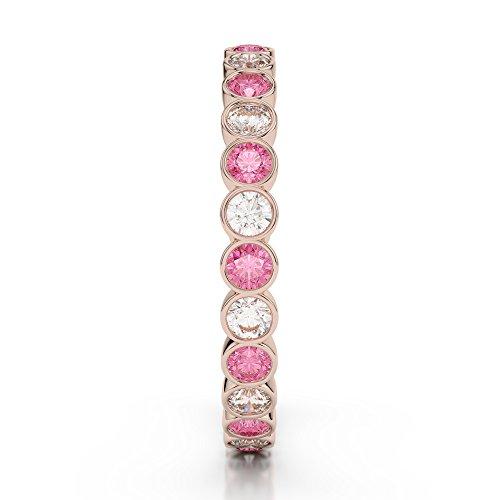Or Rose 18carats 0,38CT G-H/VS Certifié Coupe ronde Tourmaline Rose et diamant éternité Bague Agdr-1099
