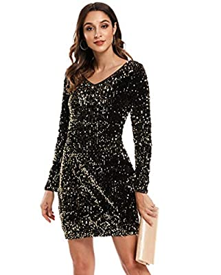 MS STYLE Women's Sparkle Glitzy Glam Sequin Long Sleeve Flapper Party Club Dress