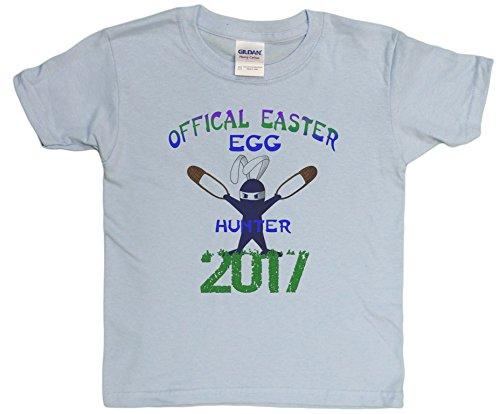 Big Boys 4-20 Official Easter Egg Hunter 2015 Ninja Bunny Youth T-Shirt (Medium, Light Blue)