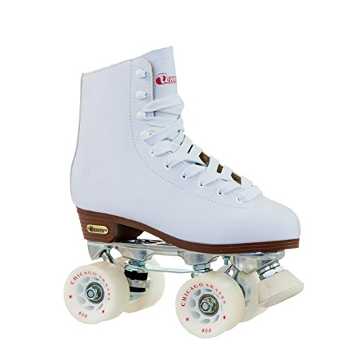Chicago Women's Premium Leather Lined Rink Roller Skate - Classic White Quad Skates - Size 7 ()