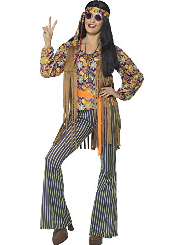 Smiffy's Women's 60s Singer Costume, Female, with Top, Waistcoat, Multi, Small - 60s Singer Adult Costumes