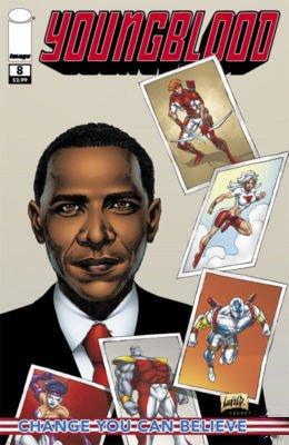 Printing Obama Cover (Youngblood #8 Barack Obama Cover and Story First Printing Cream Colored Background)