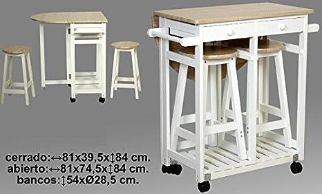 DonRegaloWeb - Verdulero - Carro de cocina madera consistente en una mesa con un ala plegable y ruedas y dos taburetes: Amazon.es: Hogar