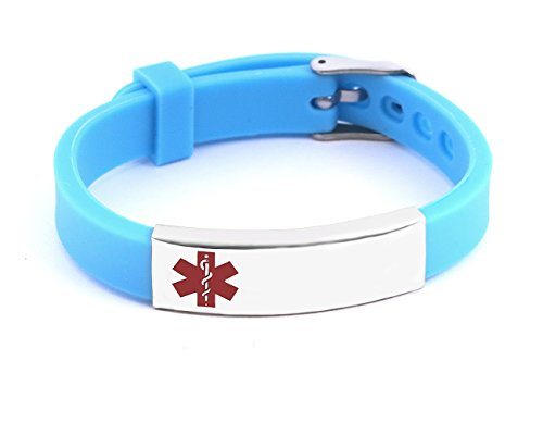 BAIYI Silicone Medical Alert ID Bracelet Teal Wristbands Stainless Steel Emergency Plate Free Engraving for Women Child Kids