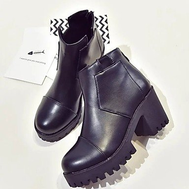 RTRY Pu Black Fashion Casual CN39 Round Shoes For Boots Zipper Toe Boots Women'S Winter US8 Chunky Heel UK6 EU39 Burgundy BqxRBwr