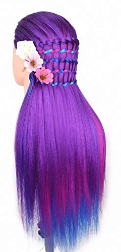 Cosmetology Mannequin Manikin Heads with Hair, Colorful Mannequin Practice Dolls Head- Synthetic Hair (Purple Series)
