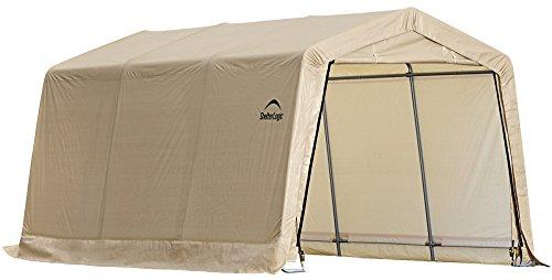 ShelterLogic Peak Style AutoShelter, Sandstone, 10 x 15 x 8 (Car Tent Garage)