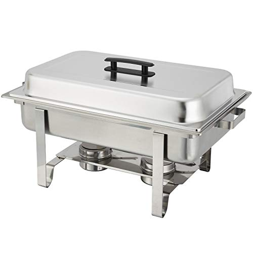 TigerChef Chafing Dish Buffet Set - Chaffing Dishes Stainless Steel - 3 Sets of Chafers and Buffet Warmer Sets Includes 6 Chafing Gels and 3 Slotted Serving Spoons - Food Warmers for Parties Buffets