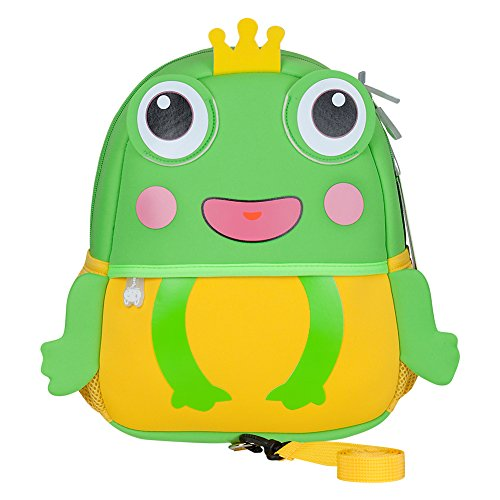 Safety Harness Backpack, Jenuther Waterproof Toddler Cool Frog Backpack for Kids Playful Preschool Lunch Boxes Carry Bag (Playful Frogs)