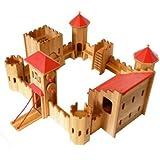 Drewart 0280 große Ritterburg aus Erle massiv Holz 75x75x45cm - Qualitätsspielzeug
