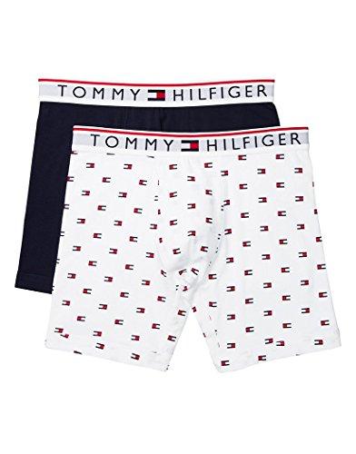 Tommy Hilfiger Men's Underwear Modern Essentials Boxer Briefs, Lait Flag Logo/Navy, Large - Essential Boxer Brief