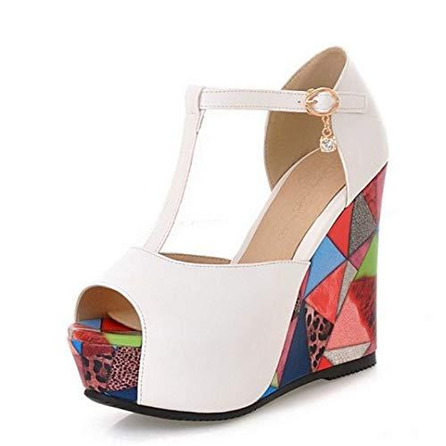 ZKYSO Women's Chunky Platform Wedge Graffiti Sandals Peep Toe Fashion T Strap High Heel Party Dress Sandal White