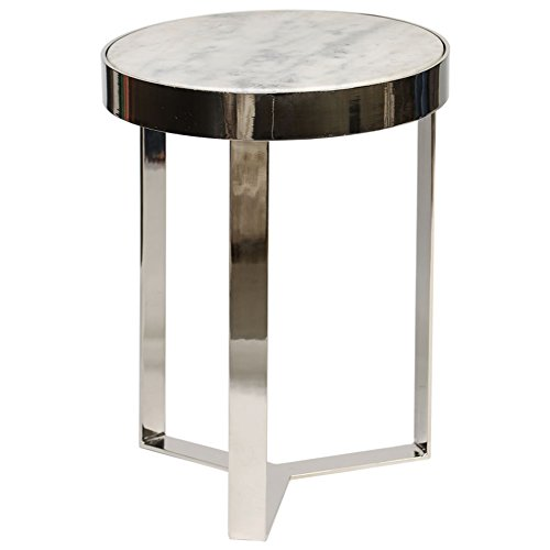 Polished Nickel Finish Mirrors - Contemporary Metal and Stone Occasional Accent Table in Polished Nickel Finish with White Granite