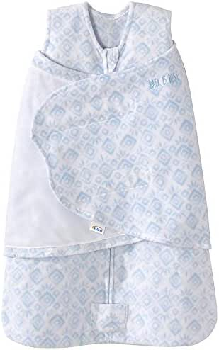 Halo Sleepsack Micro-Fleece Swaddle, Blue Diamond and Leaves, Small