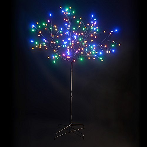 Kringle Bros Beautiful 6' Tall, Multi Color Twig Tree with Black Trunk and Branches. 156 Color Changing led Globe Lights. All Metal Construction