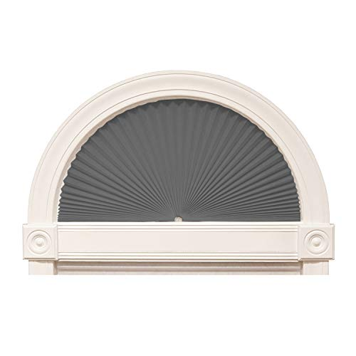 """Zipcase Arch Light Filtering Fabric Shade Pack of 2 fit for Perfect Half-Round Arch Windows No Tools Installation, Grey, 72"""" x 36"""""""
