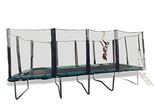 10x20 Ft Galactic Xtreme Rectangle Exercise Trampoline - Safe & Strong 3.0mm Steel Frame, Non-Abrasive Permatron Jumping Mat W/ PVC-Vinyl Spring Pad Safety Net Enclosure & Steel Ladder -550 lbs Wt Cap by HappyTrampoline