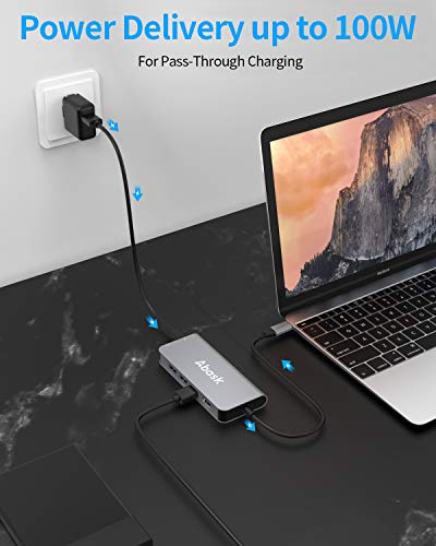 USB C Hub 8 en 1, Abask Adaptador USB C con 4K HDMI, Puerto Gigabit Ethernet, 3 Puertos USB 3.0, Lector Tarjetas SD/TF…