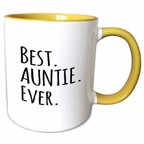 3dRose InspirationzStore Typography - Best Auntie Ever - Family gifts for relatives and honorary Aunts and Great Aunts - black text - 15oz Two-Tone Yellow Mug (mug_151475_13)