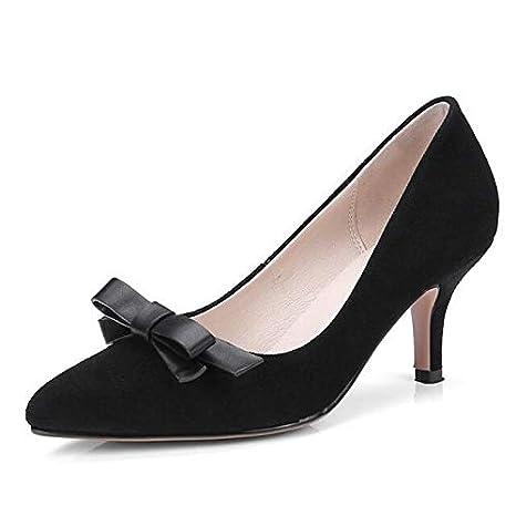 Pink ZHZNVX Womens Shoes Suede Spring Comfort Heels Stiletto Heel Black//Gray