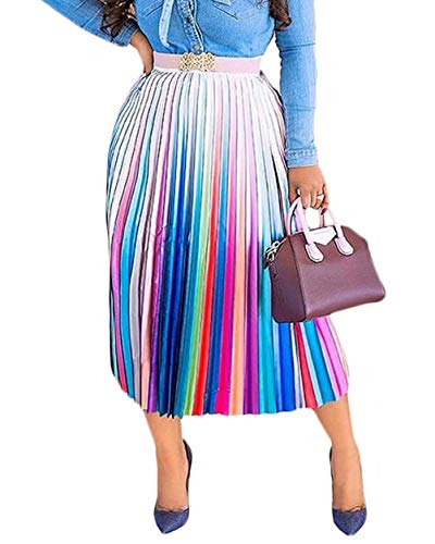 Women's Pleated Skirts Rainbow Stripes Printed Elastic Waist A-Line Swing Midi Skirt Colorfull #1 XL