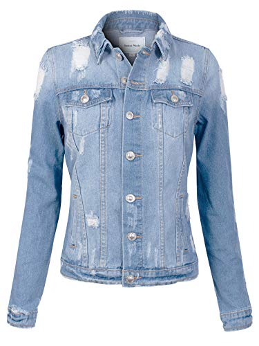 Design by Olivia Women's Vintage Distressed Medium Wash Denim Jean Jacket Light Denim M ()